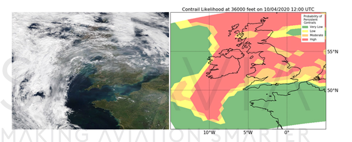 Figure 4 – Terra/MODIS satellite image over the British Isles (left), and forecasted probability of persistent contrails at 36000 feet on 10th April 2020 (right)