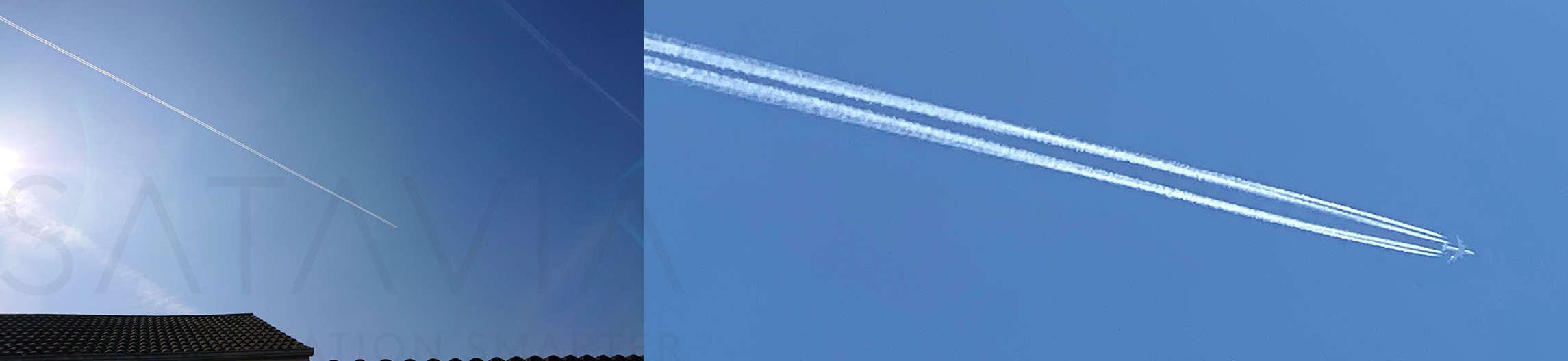 Figure 1 – Contrail observations of LH430 (FRA-ORD) over city of Cambridge at approximately 1230 UTC, on April 10th 2020.