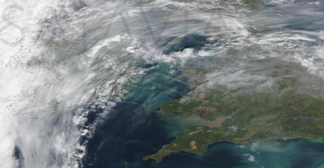 Figure 3 – Terra satellite image over the British Isles (at approximately 11:41 UTC on April 10th 2020) showing a series of contrails over the Irish Sea