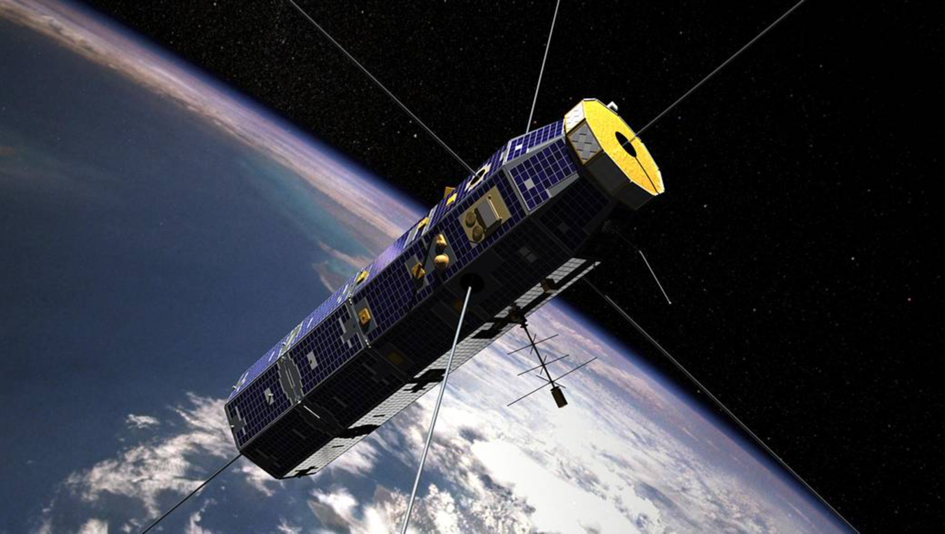 U.S. Air Force Communications/Navigation Outage Forecast System (C/NOFS)/NASA Coupled Ion Neutral Dynamic Investigation (CINDI) mission satellite in orbit around Earth. Image by NASA